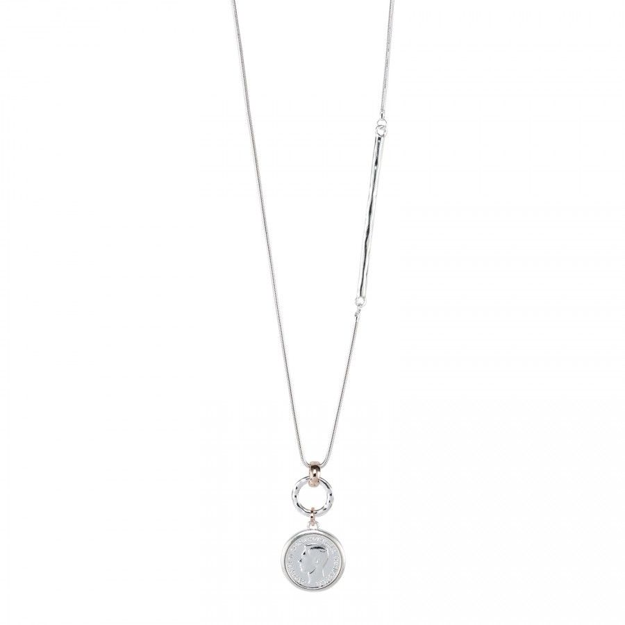 Bisoux Jewellery|Rose Gold & Silver Mix Coin Feature Necklace with an asymmetrical Silver Post