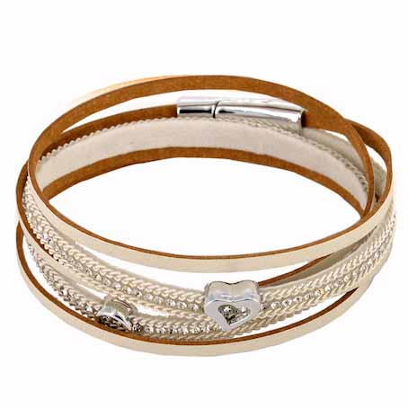 Bisoux Jewellery Double Wrap Sparkle Heart Leather Bracelet in White