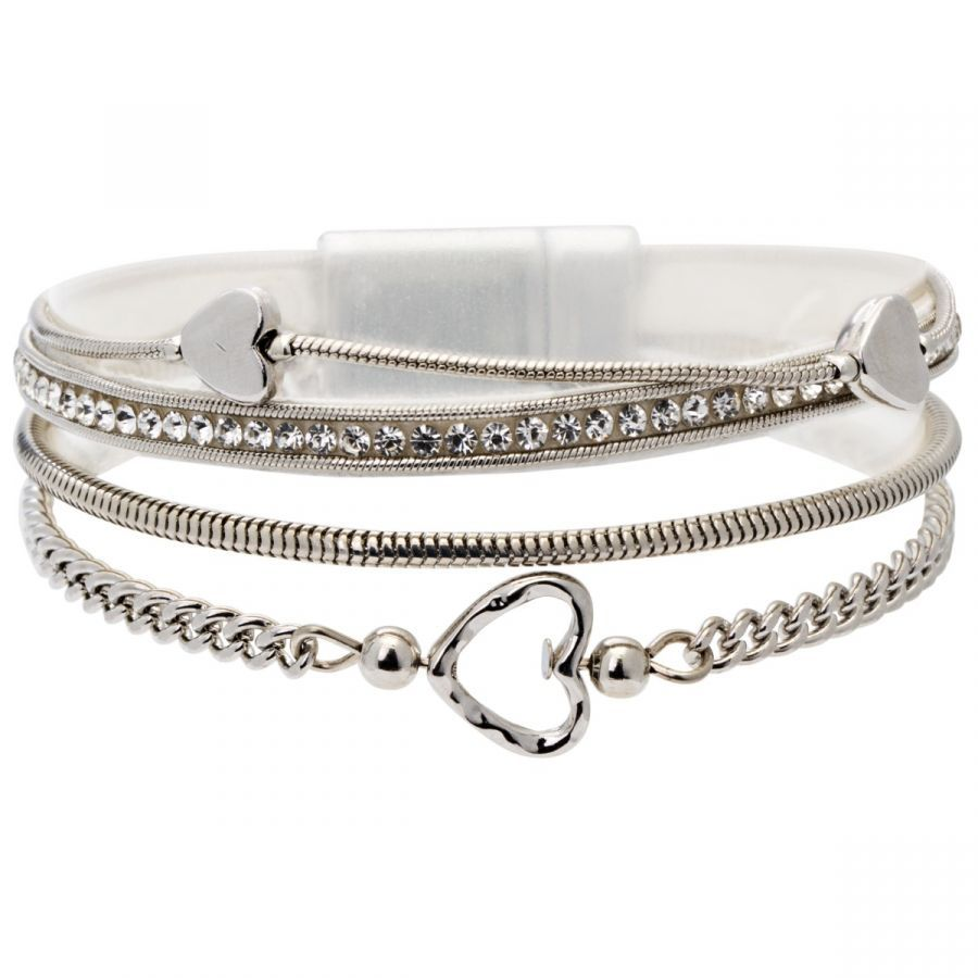 Bisoux Jewellery|Bisoux Jewellery Magnetic Multi Strand Heart Bracelet in Silver