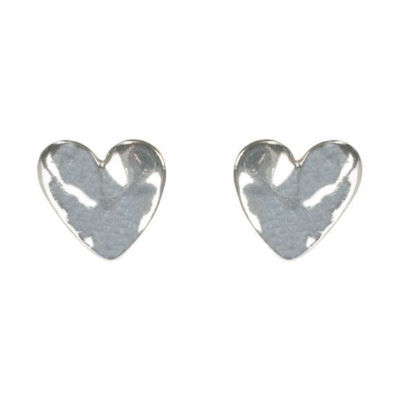 Bisoux Jewellery|Hammered Heart Stud Earrings