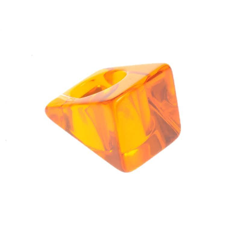 Jackie Brazil Large Square Ring in Transparent Orange|Oxfordshire Jewellery Boutique