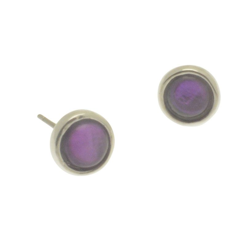 Miss Milly Purple Shell Resin Stud Earrings