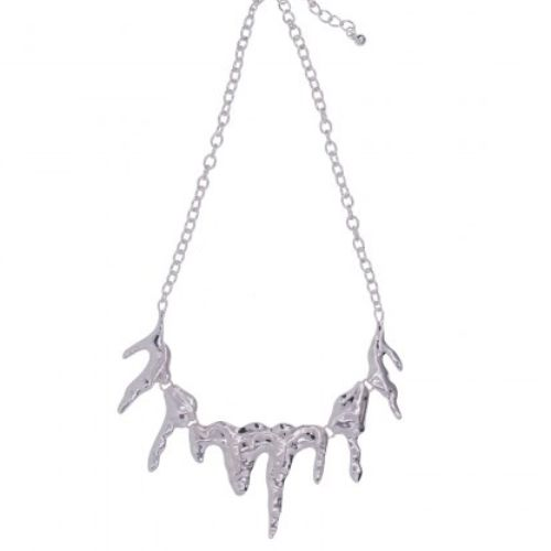 Silver Drips Short Melting Necklace with Lobster Closure