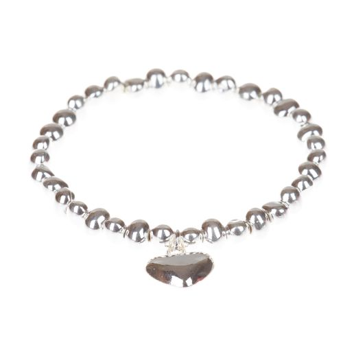 Simple Heart Charm Bracelet with Irregular Shaped Silver Nuggets